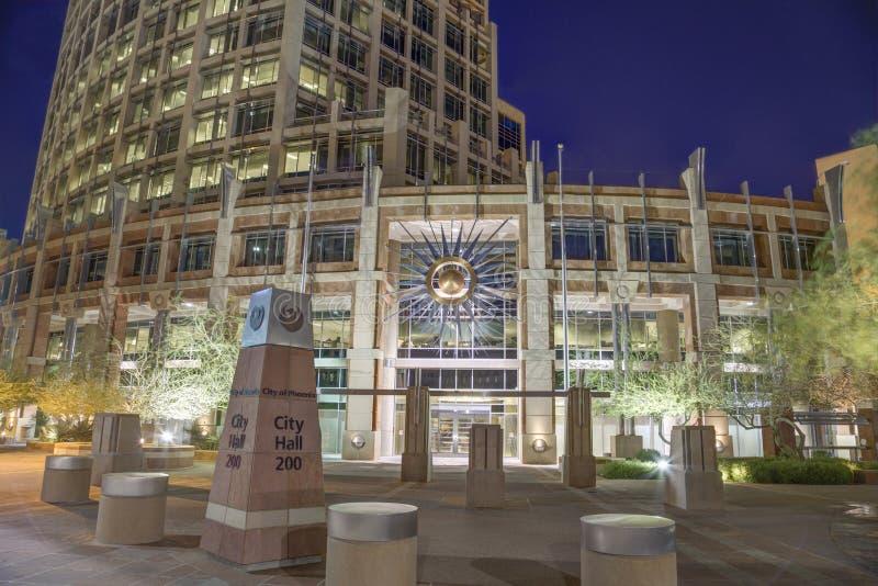 Rathaus Phoenix Arizona nachts lizenzfreies stockfoto