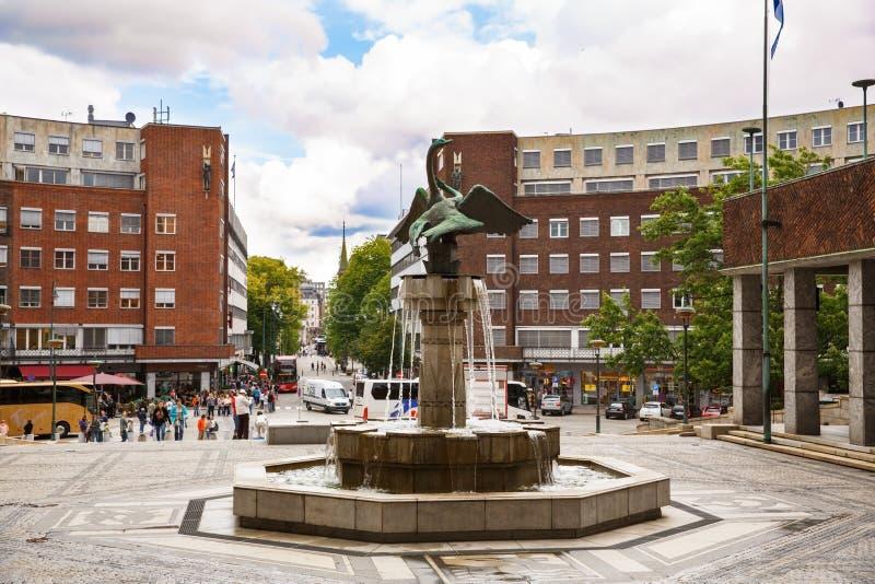 Rathaus-Quadrat in Oslo lizenzfreie stockbilder