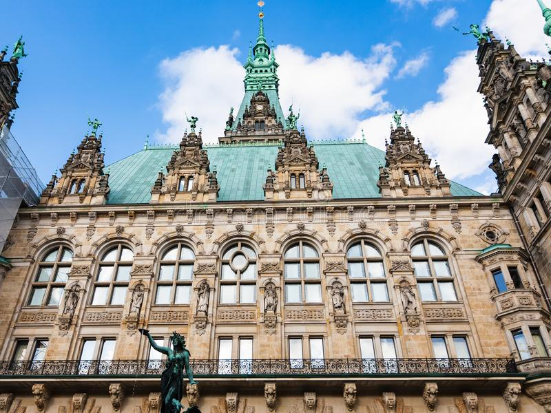 Rathaus Town Hall from courtyard in Hamburg. Travel to Germany - view of building of Hamburger Rathaus Town Hall from courtyard in Hamburg city in september royalty free stock image