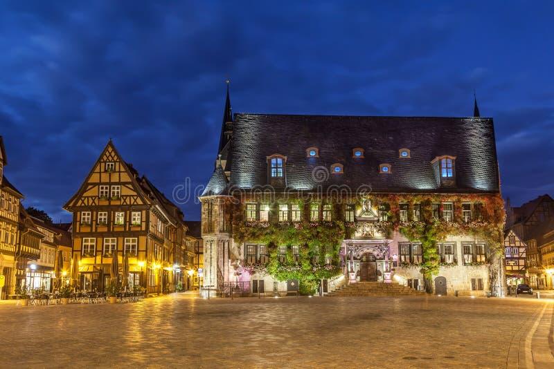 Rathaus von Quedlinburg auf Markt-Quadrat lizenzfreie stockfotografie