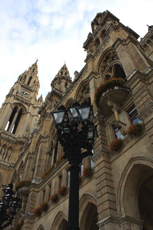 Rathausen (stadshus) är en byggnad i Wien, Österrike arkivfoto