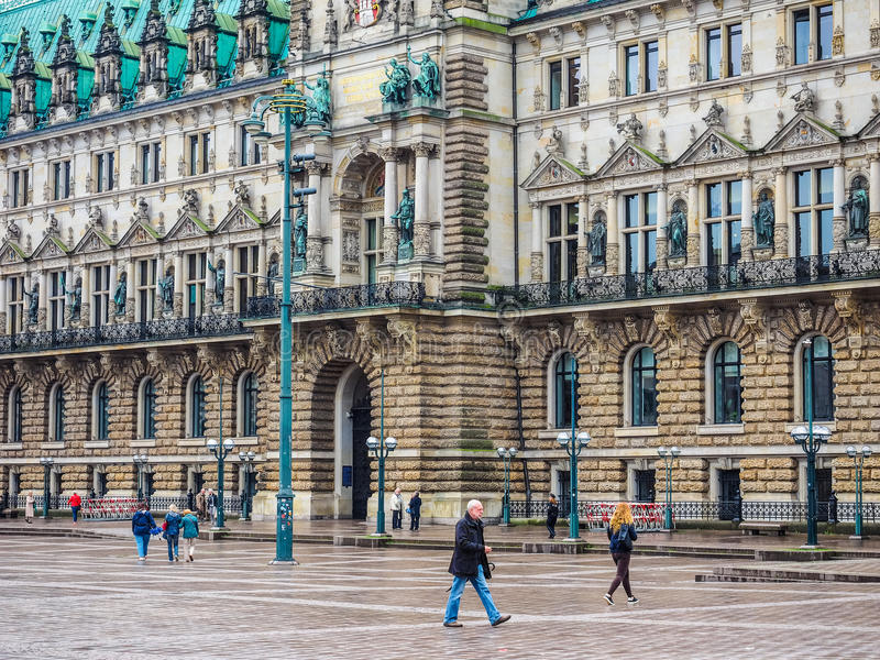 Rathausmarkt kwadrat w Hamburskim hdr zdjęcia stock