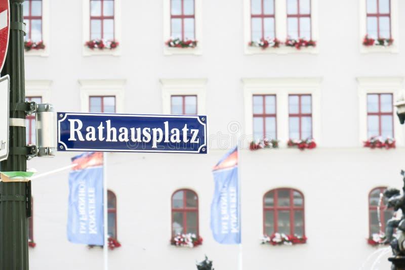 Rathausplatz Augsburg. Sign on the Rathausplatz in Augsburg with lots of copy space stock photo