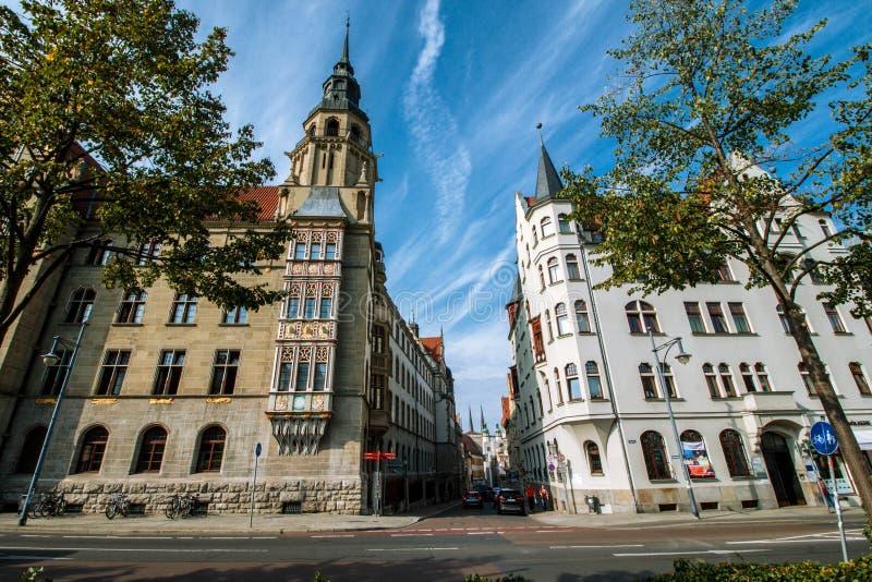 Rathausstraße Halle arkivfoto
