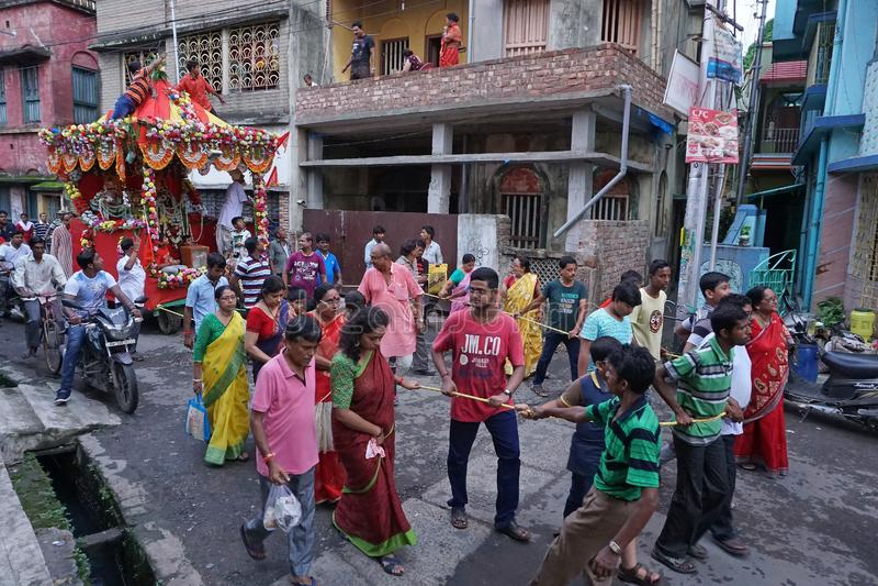 Rathjatra van Lord Jagannath, West-Bengalen, India royalty-vrije stock foto's
