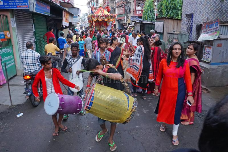 Rathjatra van Lord Jagannath, West-Bengalen, India stock foto's