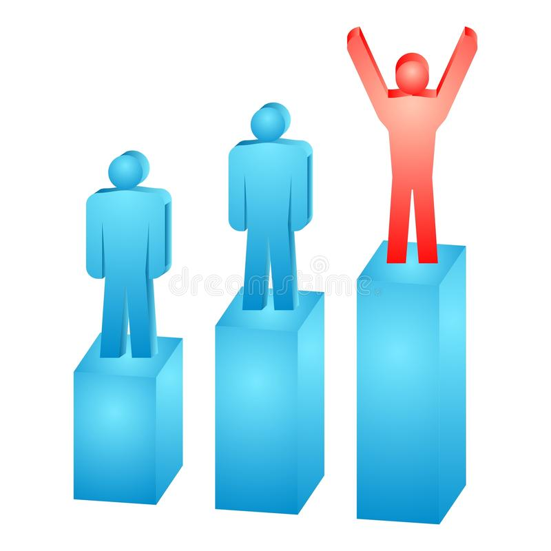 Rating. Illustration of the business people on the graph royalty free illustration