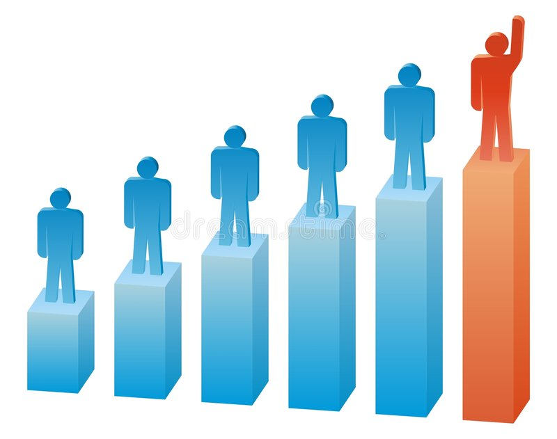 Rating. Illustration of the business people on the graph vector illustration