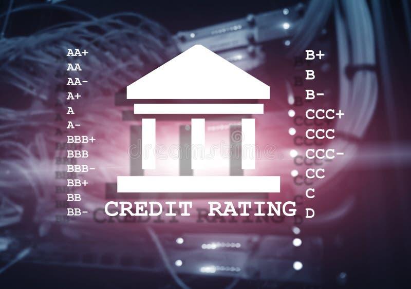 Rating de crédito no fundo do centro de dados Cálculo e análise do rating de crédito fotografia de stock