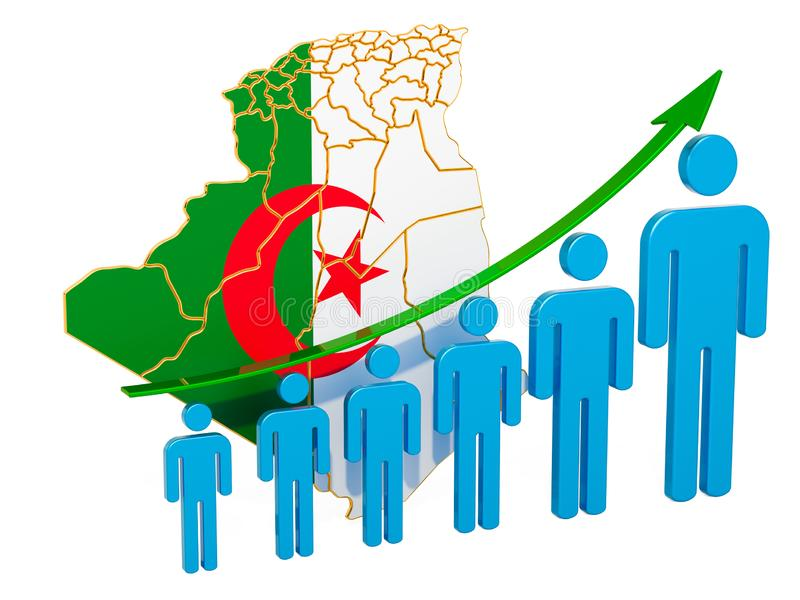 Rating of employment and unemployment or mortality and fertility in Algeria, concept. 3D rendering. Isolated on white background royalty free illustration
