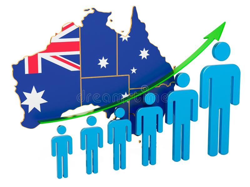 Rating of employment and unemployment or mortality and fertility in Australia, concept. 3D rendering. Isolated on white background stock illustration