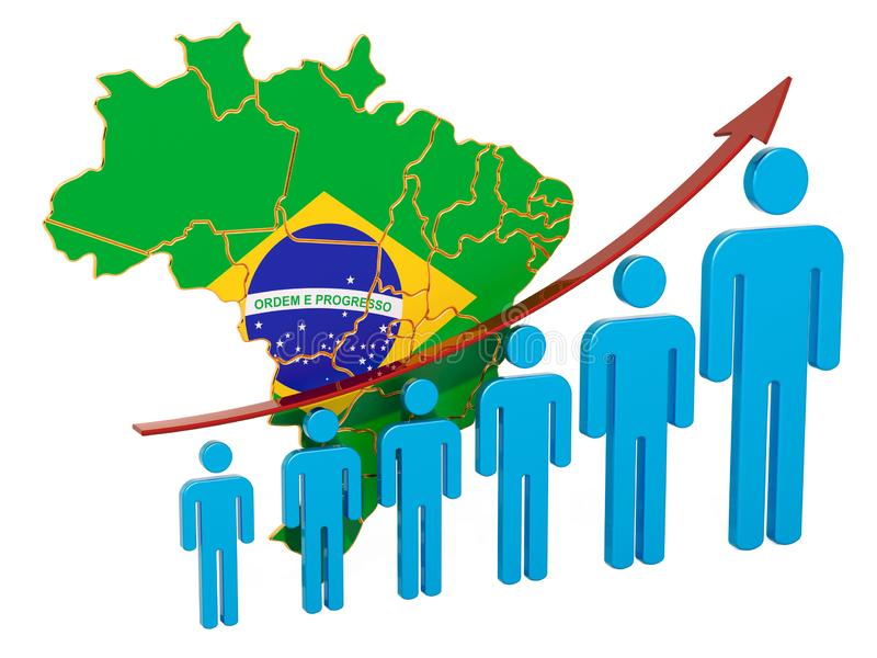 Rating of employment and unemployment or mortality and fertility in Brazil, concept. 3D rendering. Isolated on white background vector illustration