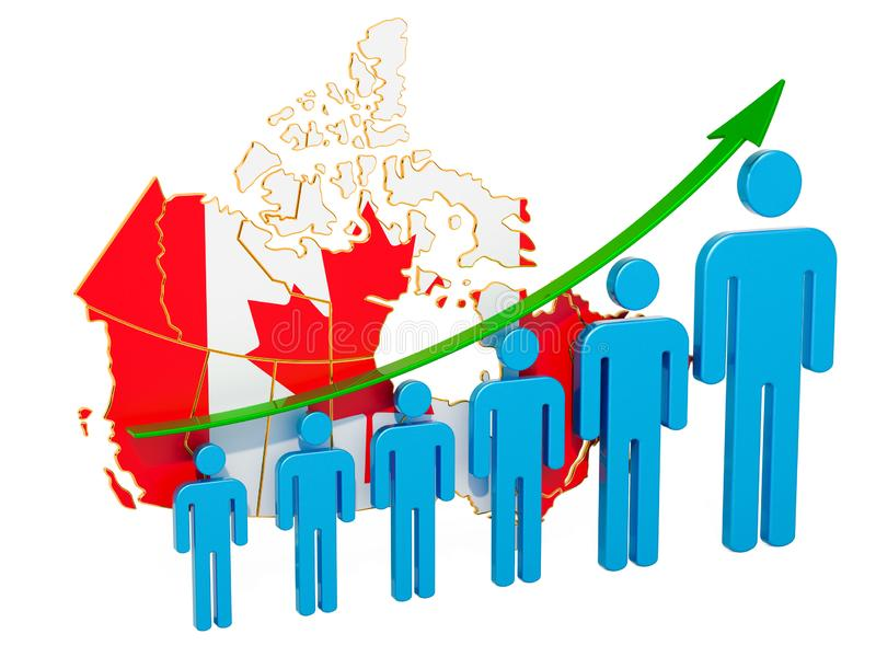 Rating of employment and unemployment or mortality and fertility in Canada, concept. 3D rendering. Isolated on white background royalty free illustration