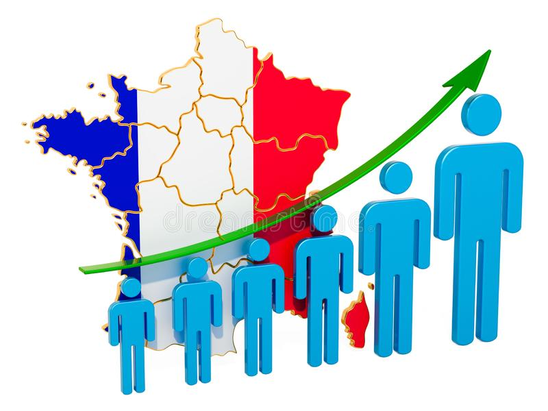 Rating of employment and unemployment or mortality and fertility in France, concept. 3D rendering. Isolated on white background vector illustration