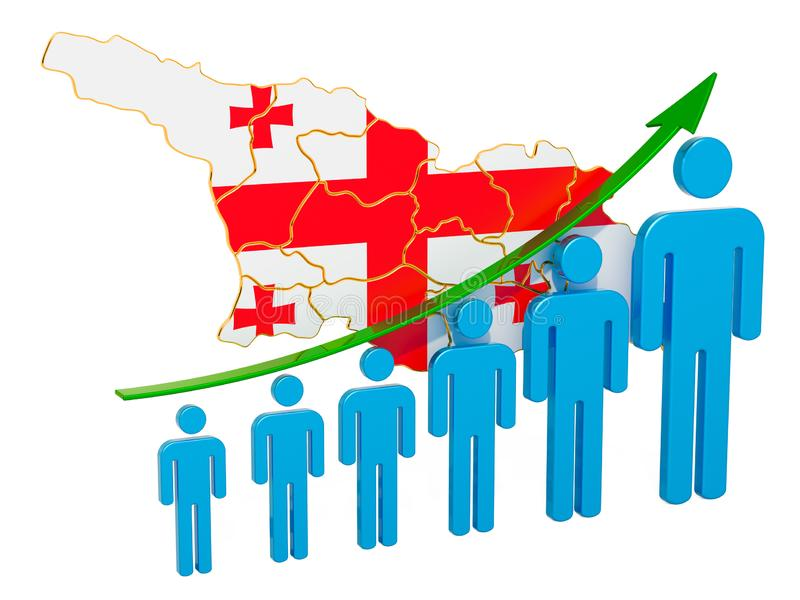 Rating of employment and unemployment or mortality and fertility in Georgia, concept. 3D rendering. Isolated on white background vector illustration