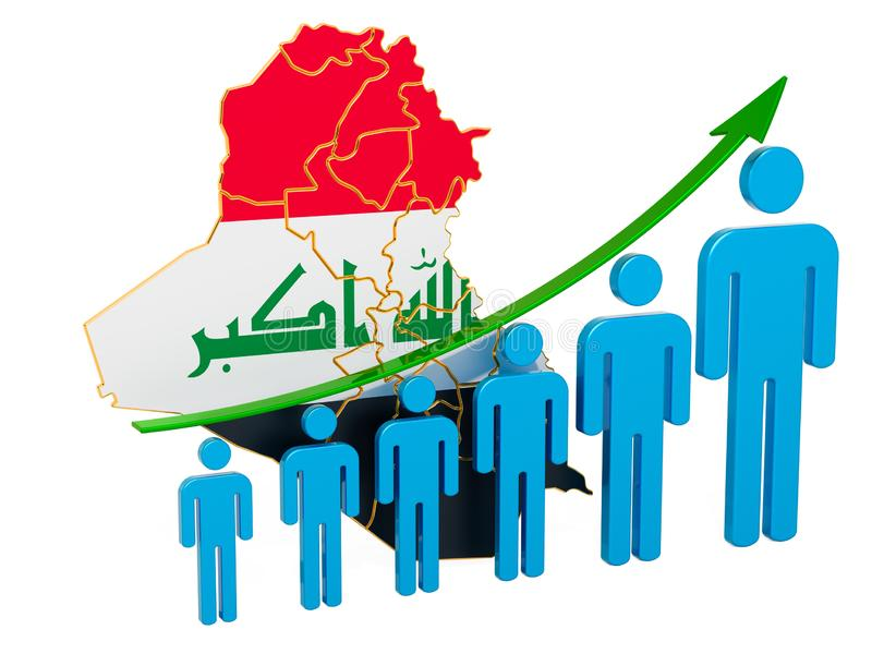 Rating of employment and unemployment or mortality and fertility in Iraq, concept. 3D rendering. Isolated on white background royalty free illustration