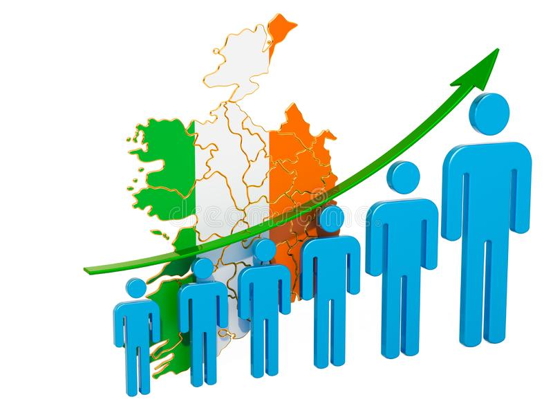 Rating of employment and unemployment or mortality and fertility in Ireland, concept. 3D rendering. Isolated on white background vector illustration