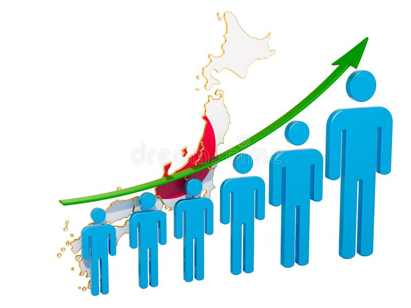 Rating of employment and unemployment or mortality and fertility in Japan, concept. 3D rendering. Isolated on white background stock illustration