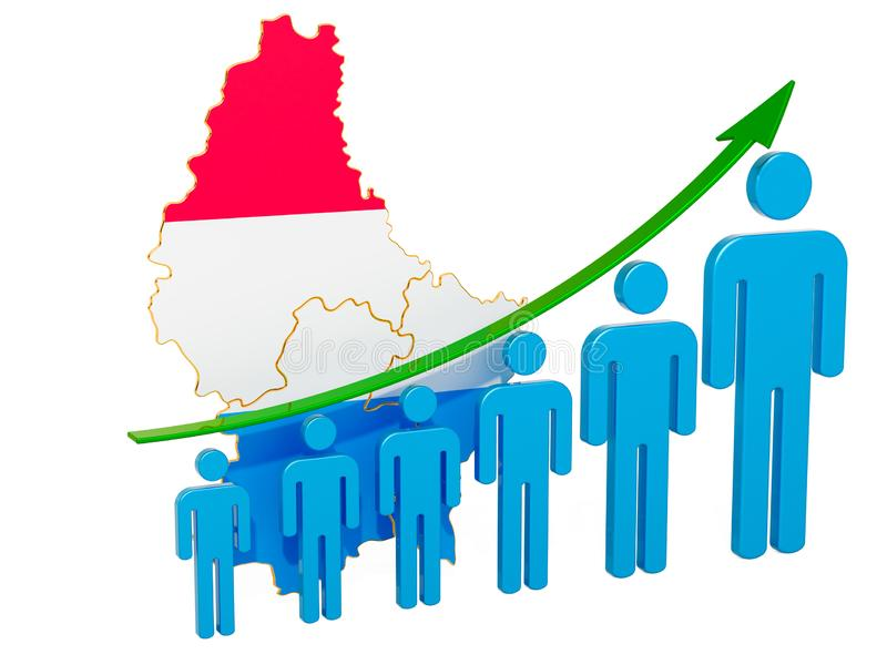 Rating of employment and unemployment or mortality and fertility in Luxembourg, concept. 3D rendering. Isolated on white background stock illustration