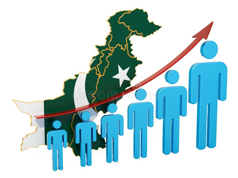 Rating of employment and unemployment or mortality and fertility in Pakistan, concept. 3D rendering. Isolated on white background stock illustration