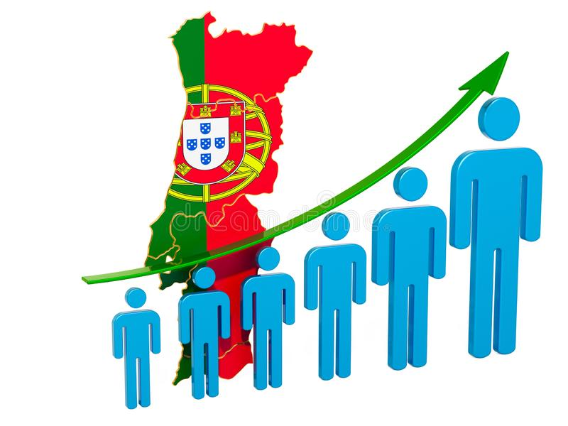 Rating of employment and unemployment or mortality and fertility in Portugal, concept. 3D rendering. Isolated on white background royalty free illustration
