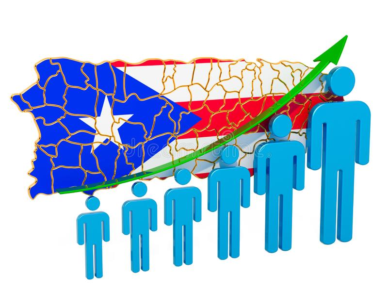 Rating of employment and unemployment or mortality and fertility in Puerto Rico, concept. 3D rendering. Isolated on white background stock illustration