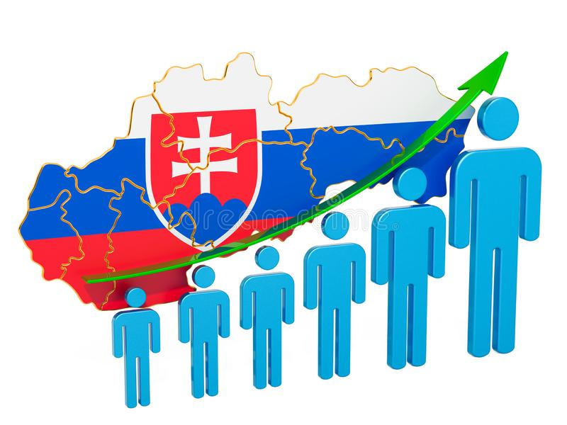 Rating of employment and unemployment or mortality and fertility in Slovakia, concept. 3D rendering. Isolated on white background stock illustration