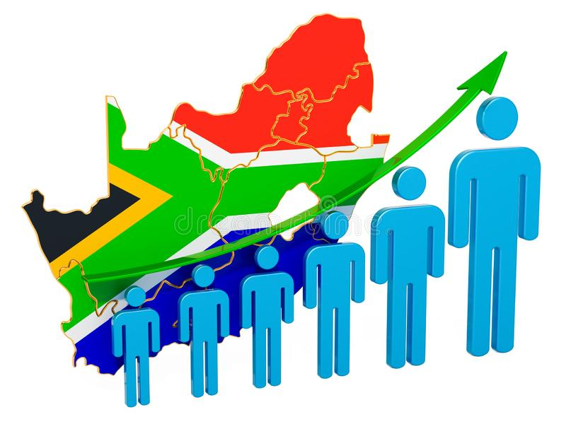 Rating of employment and unemployment or mortality and fertility in South Africa, concept. 3D rendering. Isolated on white background royalty free illustration