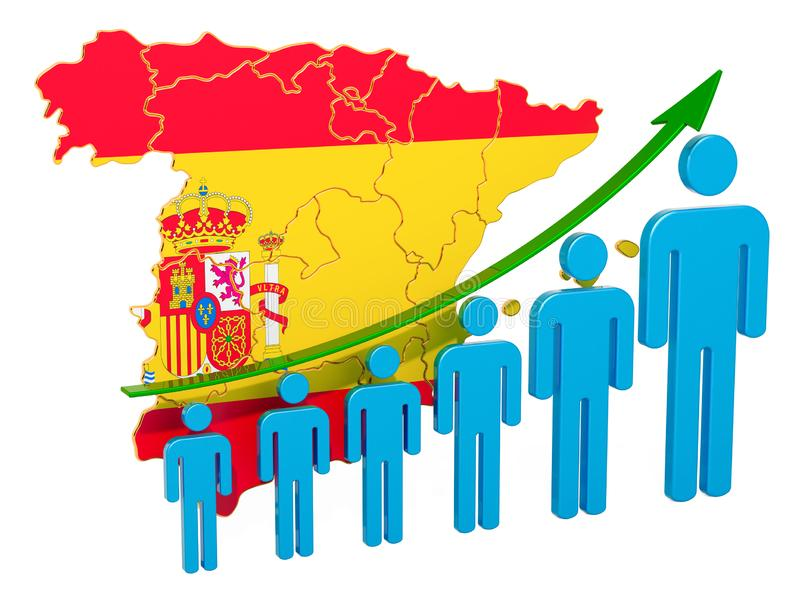 Rating of employment and unemployment or mortality and fertility in Spain, concept. 3D rendering. Isolated on white background royalty free illustration