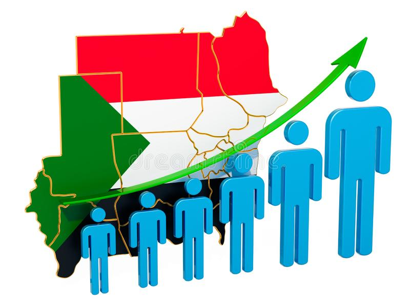 Rating of employment and unemployment or mortality and fertility in Sudan, concept. 3D rendering. Isolated on white background stock illustration