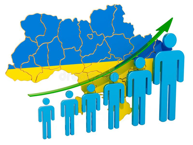 Rating of employment and unemployment or mortality and fertility in Ukraine, concept. 3D rendering. Isolated on white background vector illustration