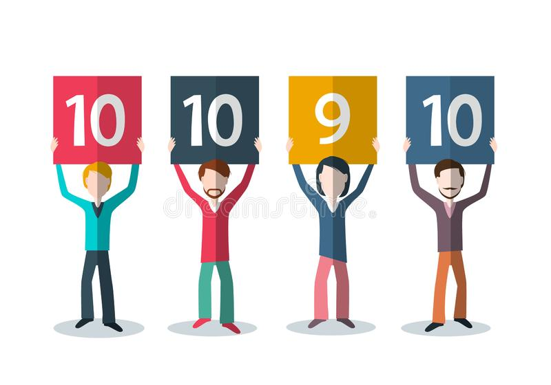 Rating and Feedback Concept. People with Numbers above Head. royalty free illustration