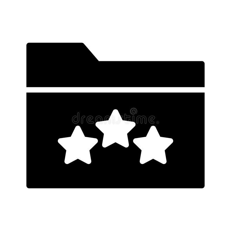 Rating folder glyph flat vector icon stock illustration