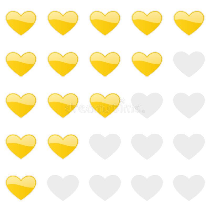 Rating hearts panel. Customer review, vote navigation bar. Vector satisfaction, like level symbol. Vector illustration stock illustration