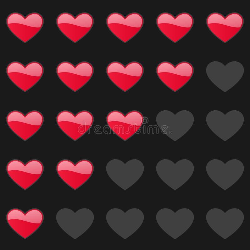 Rating hearts panel. Customer review, vote navigation bar. Vector satisfaction, like level symbol. Vector illustration royalty free illustration