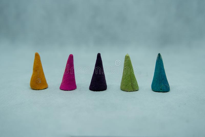 5 Rating by incense cone spirituality multi colored stock photos