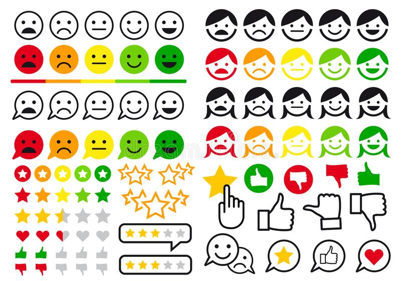 Rating, review, user emoji, flat icons, vector set. Rating, review, feedback flat icons, like and dislike buttons, user emoji for website and online shop, set of royalty free illustration