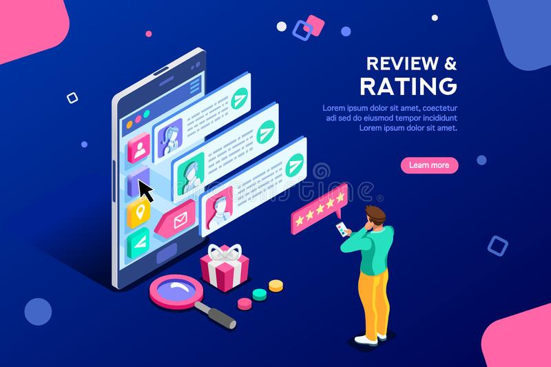 Rating Service Best Community Review Template Banner stock illustration