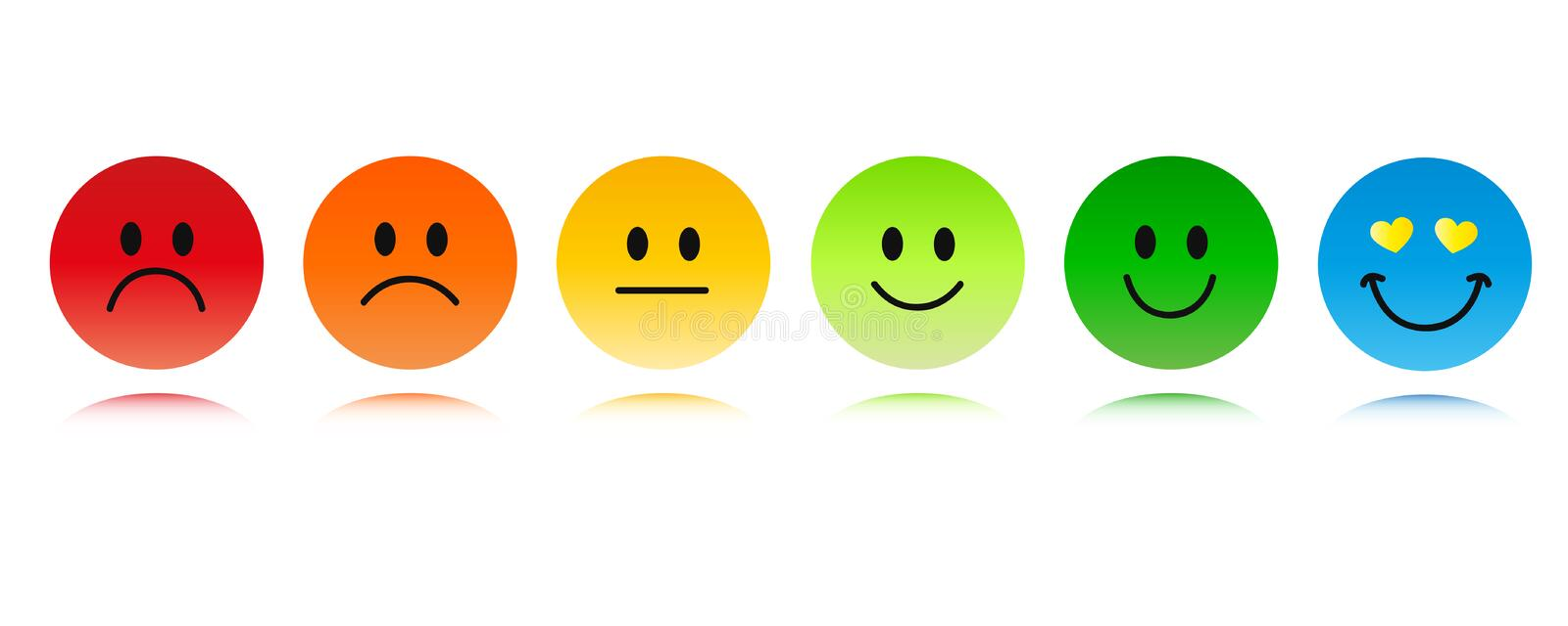 Rating six smiley faces red to green and blue stock illustration