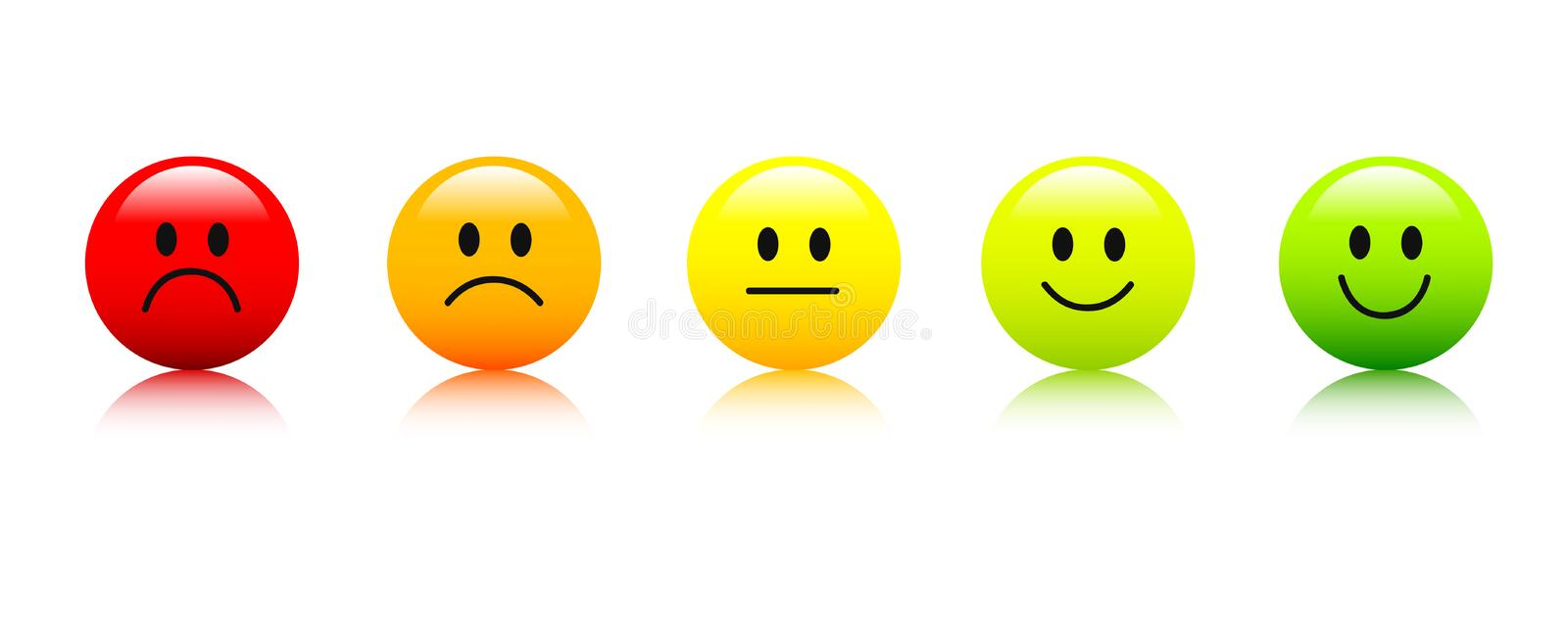 Rating smiley faces red to green icon stock illustration