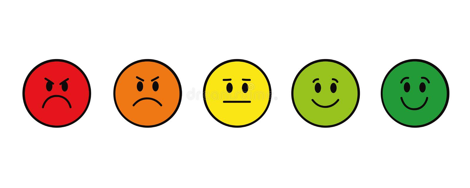 Rating smiley faces red to green round stock illustration