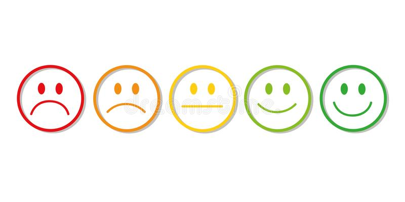 Rating smiley faces red to green vector illustration