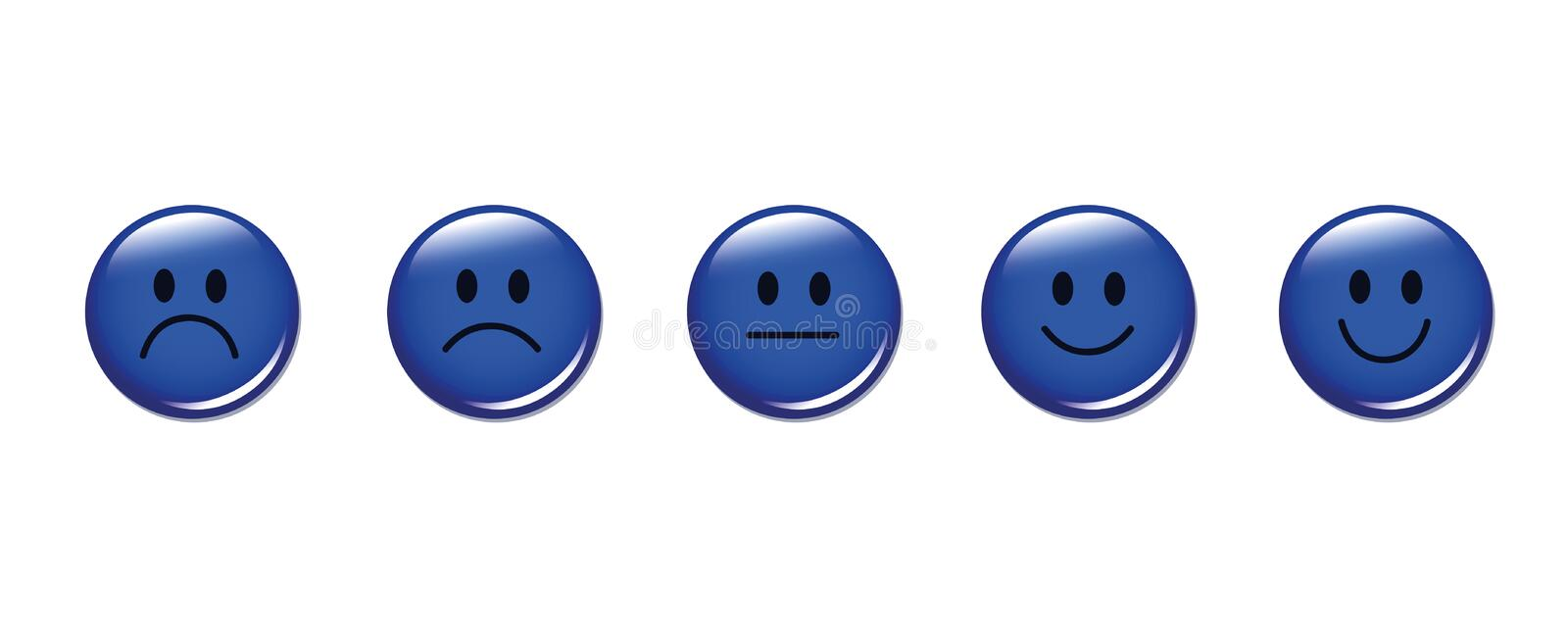 Rating smiley faces round blue. Vector illustration EPS10 stock illustration