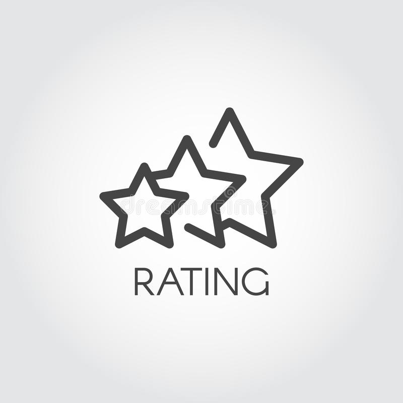 Rating star icon drawing in outline style. Evaluation of service and quality sign. Interface win status symbol. Vector. Rating star icon drawing in outline style royalty free illustration