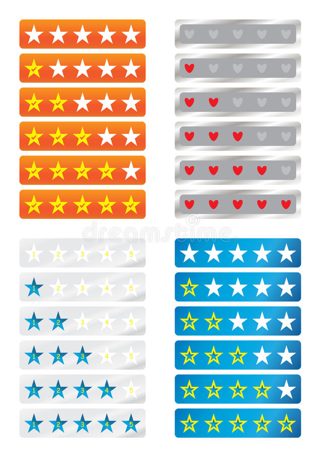 Rating Star Love_eps. Illustration of four sets rating with star and love, inside yes symbol, numbers, small star on white background. --- This .eps file info royalty free illustration
