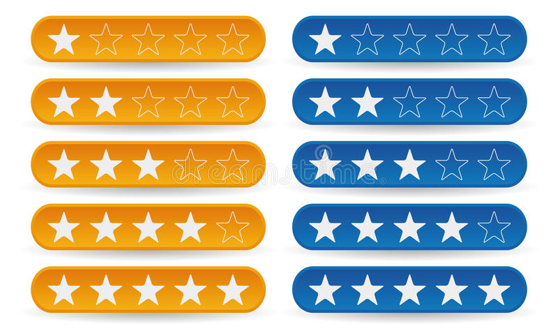 Rating stars. Set of yellow and blue rating stars stock illustration