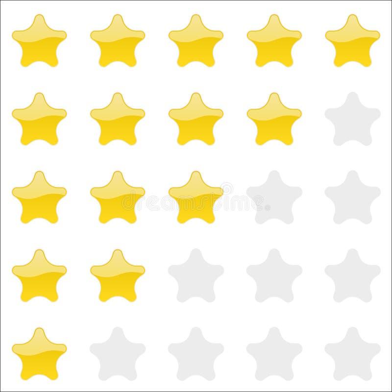 Rating stars panel. Customer review, vote navigation bar. Vector satisfaction level symbol. Vector illustration royalty free illustration