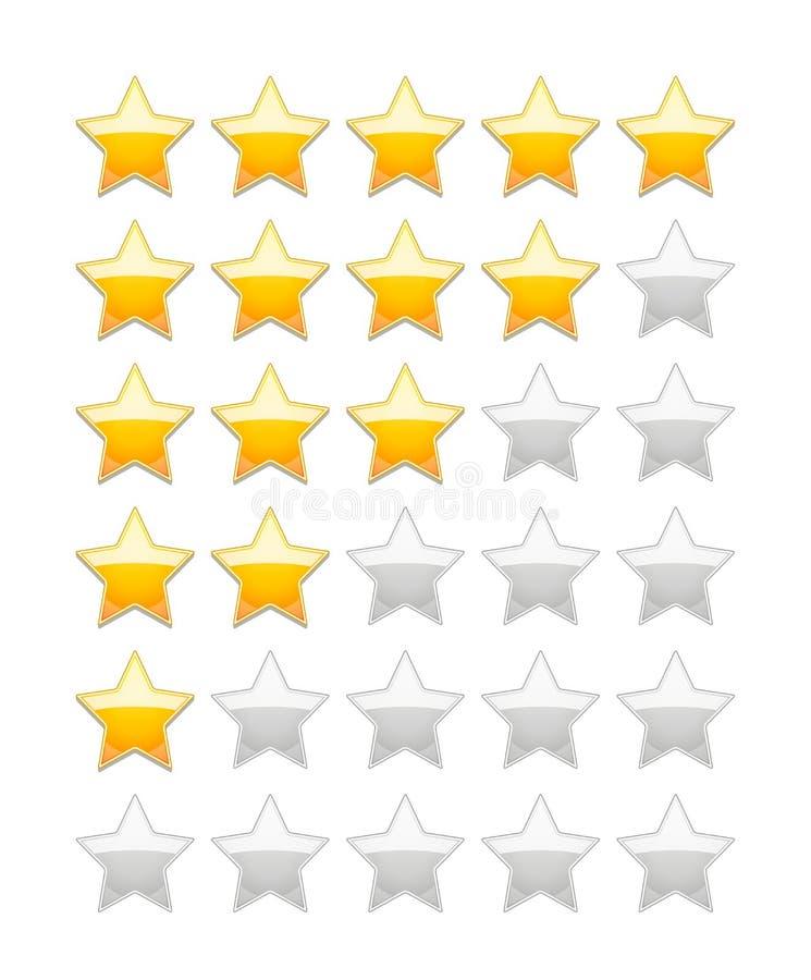 Rating Stars. Vector Rating 5 Stars isolated on white stock illustration