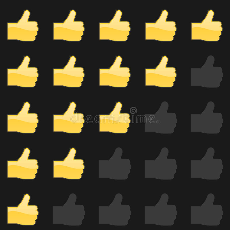 Rating thumbs up panel. Customer review, vote navigation bar. Vector satisfaction, like level symbol. Vector illustration stock illustration