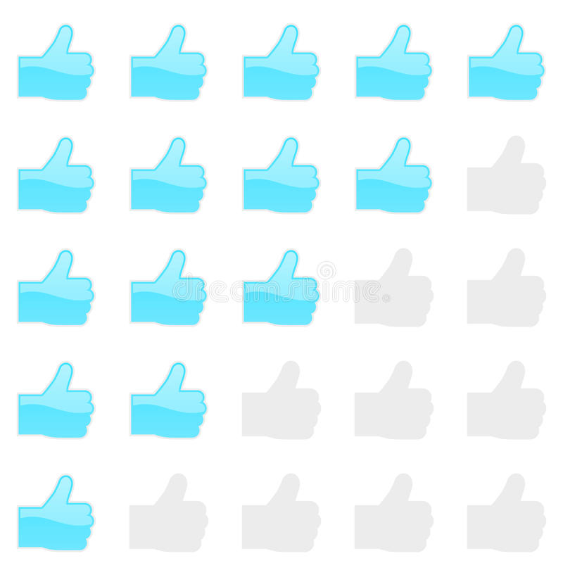 Rating thumbs up panel. Customer review, vote navigation bar. Vector satisfaction, like level symbol. Vector illustration royalty free illustration